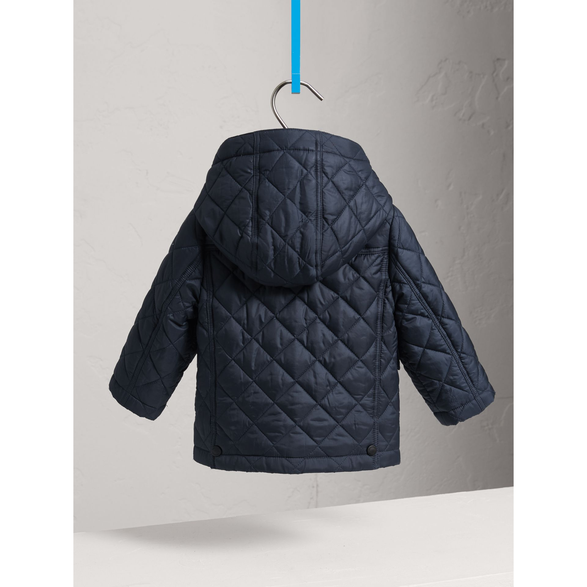 Check Detail Diamond-quilted Jacket in Ink Blue | Burberry Australia - gallery image 3