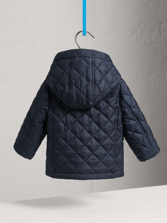 Check Detail Diamond-quilted Jacket in Ink Blue | Burberry Australia - cell image 3