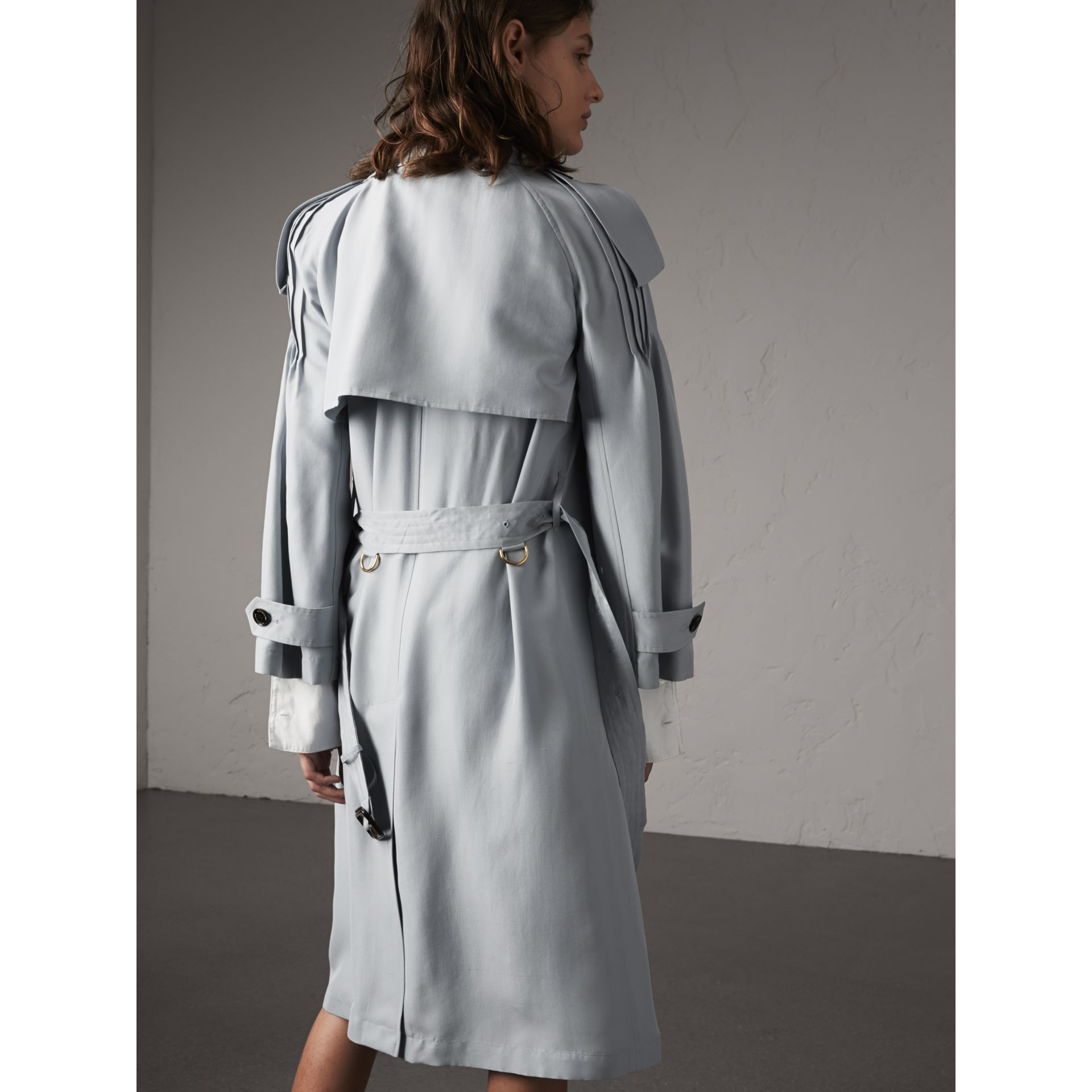 Ruffle Detail Silk Trench Coat in Pale Slate Blue - Women | Burberry Canada - gallery image 3