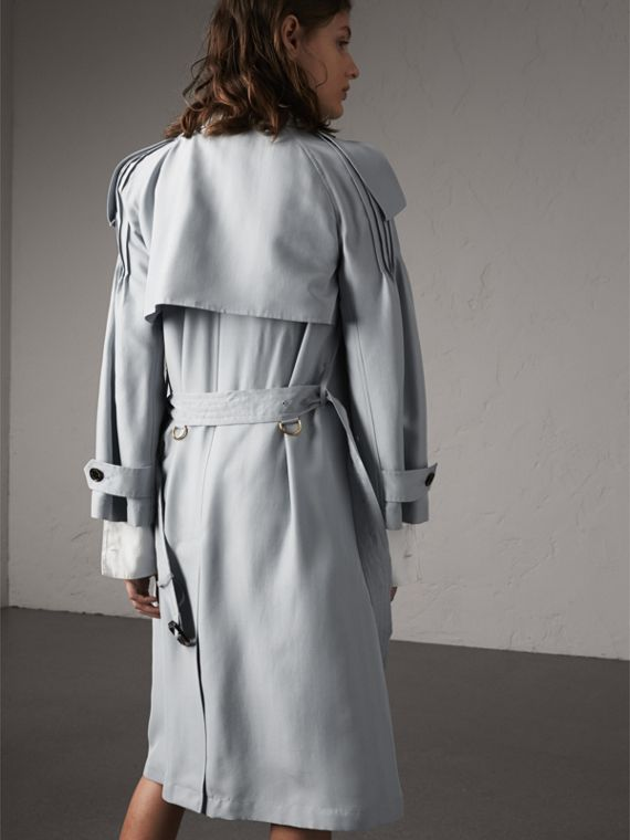 Ruffle Detail Silk Trench Coat in Pale Slate Blue - Women | Burberry - cell image 2