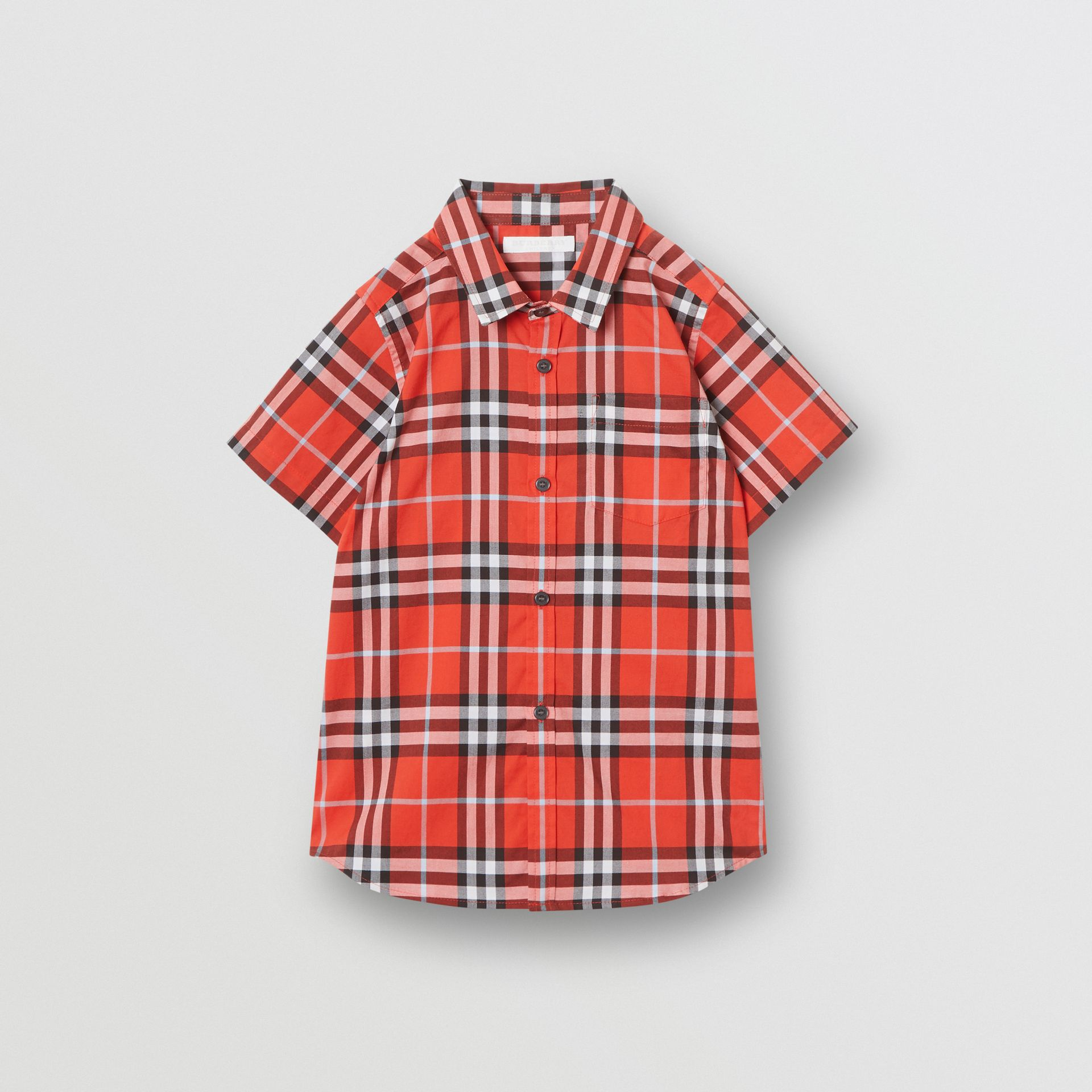 Short-sleeve Check Cotton Shirt in Orange Red | Burberry - gallery image 0