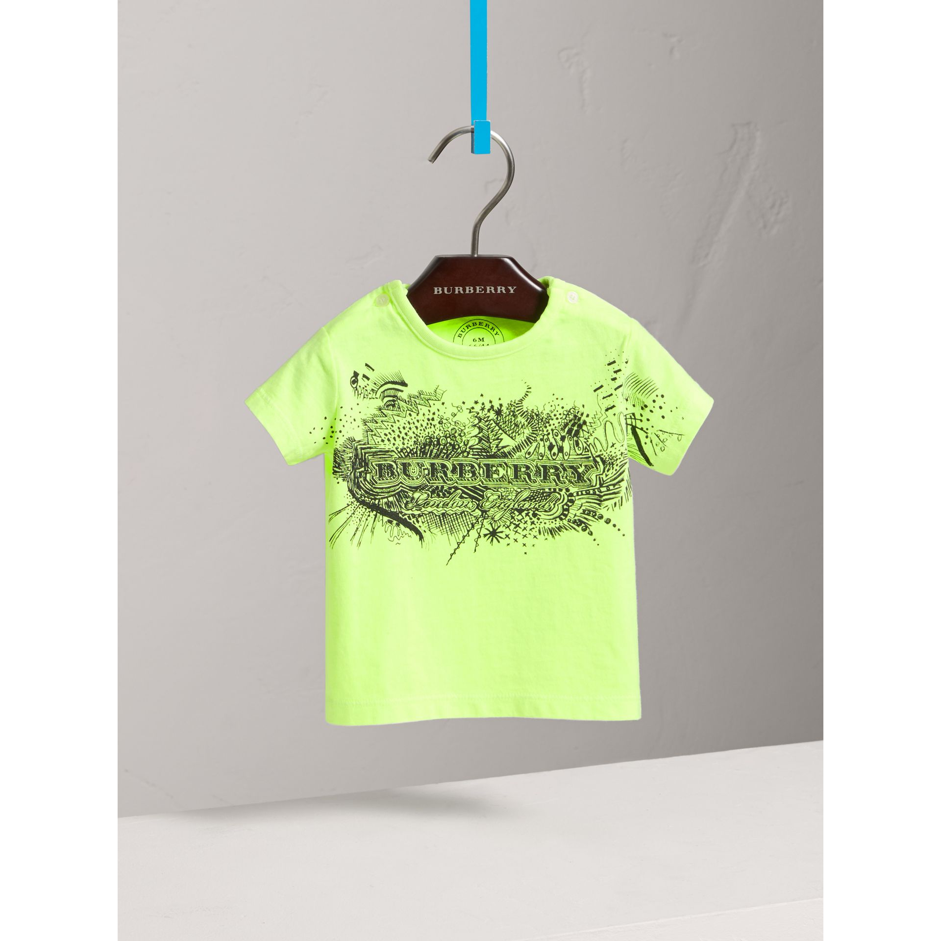 Doodle Print Cotton Jersey T-shirt in Bright Lemon | Burberry Australia - gallery image 0