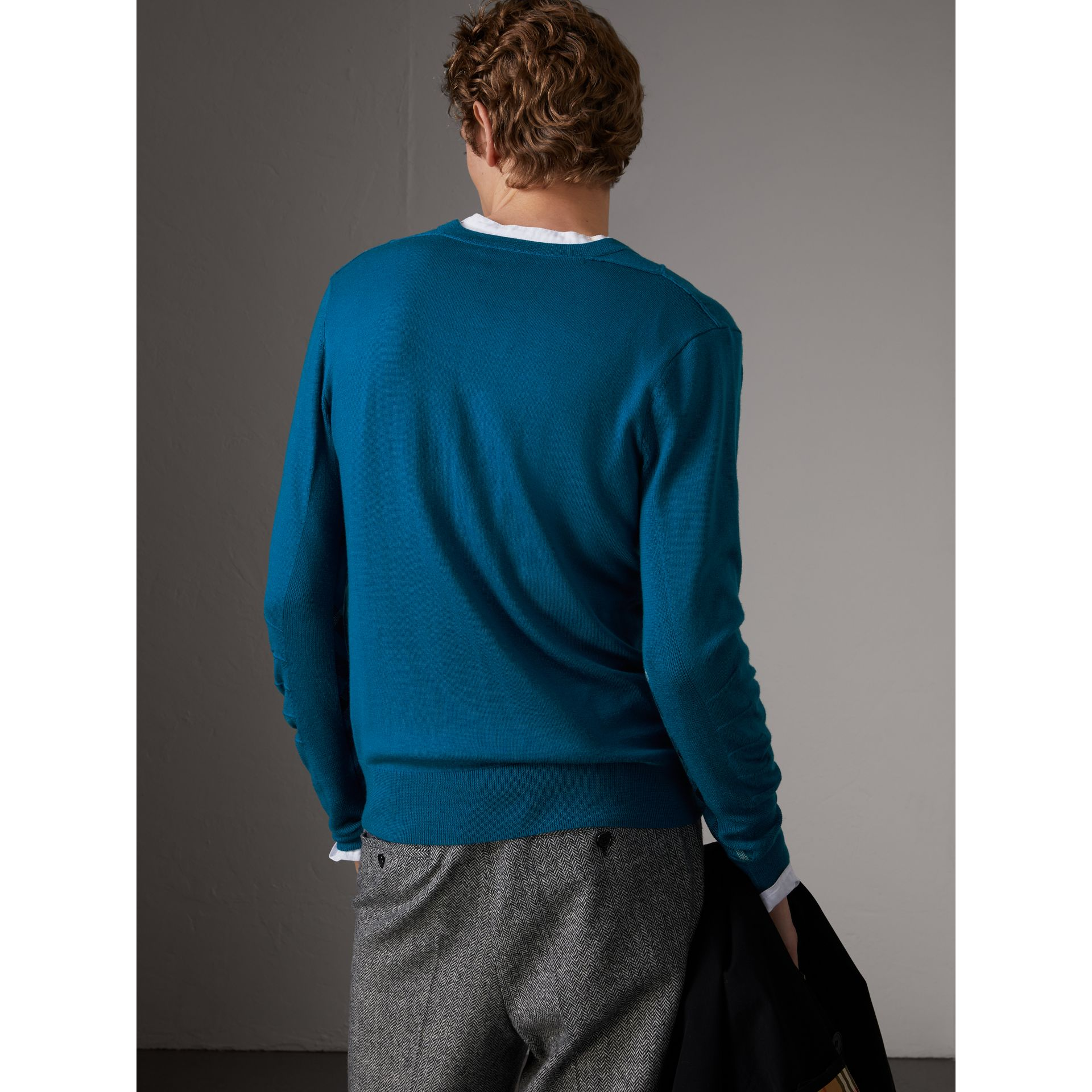 Check Detail Merino Wool V-neck Sweater in Mineral Blue - Men | Burberry Canada - gallery image 2