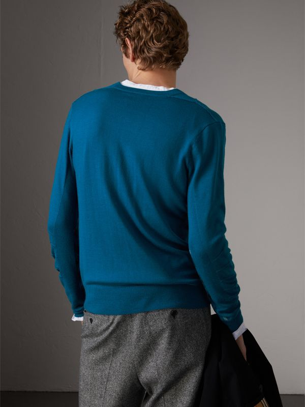 Check Detail Merino Wool V-neck Sweater in Mineral Blue - Men | Burberry - cell image 2