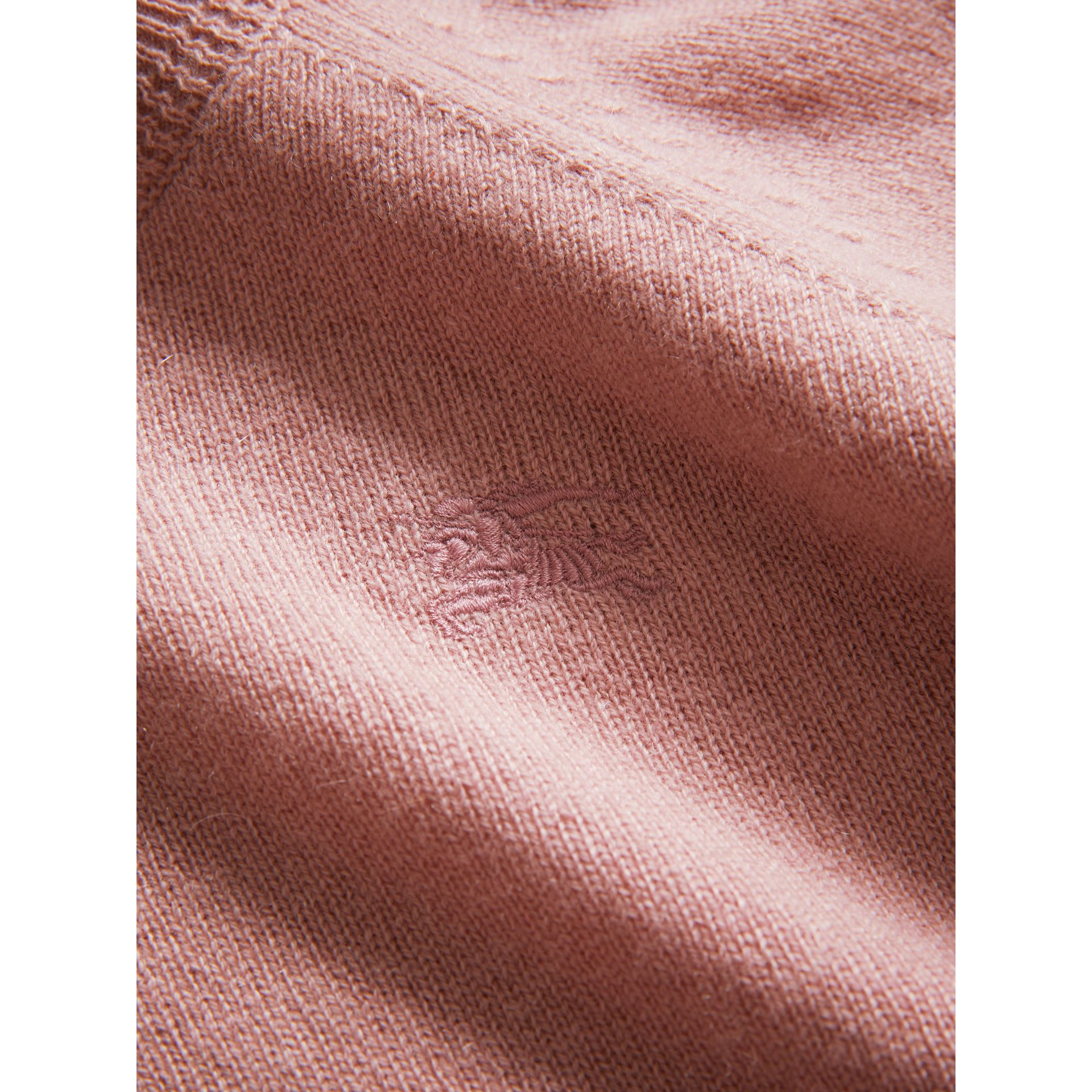 Check Detail Cashmere Sweater in Dusty Pink - Girl | Burberry Hong Kong - gallery image 1