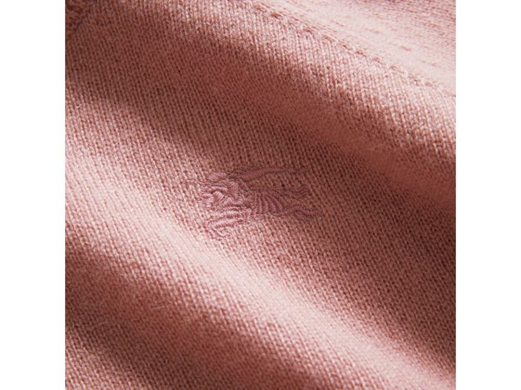 Check Detail Cashmere Sweater in Dusty Pink - Girl | Burberry - cell image 1