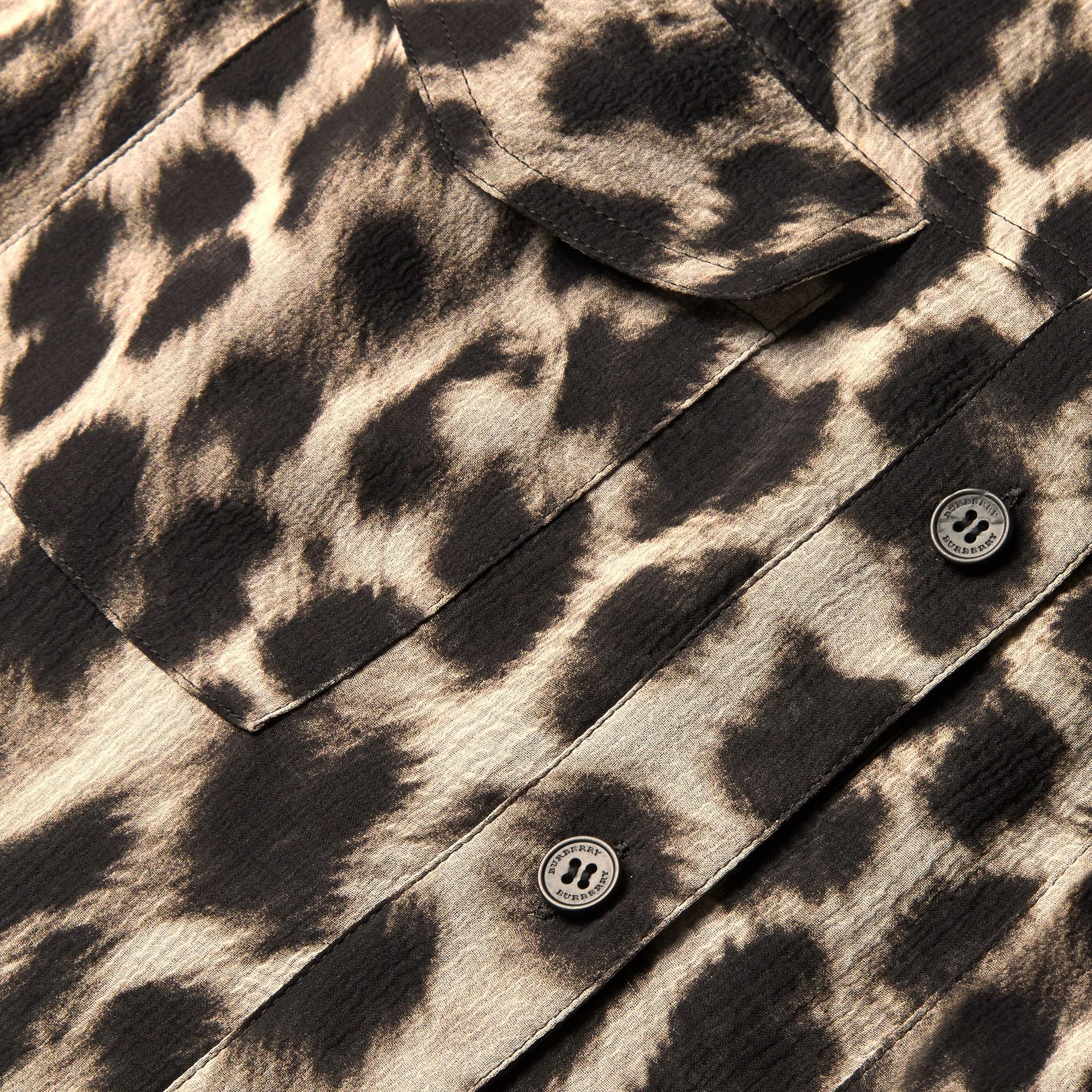 Ruffle Detail Animal Print Silk Dress - gallery image 2