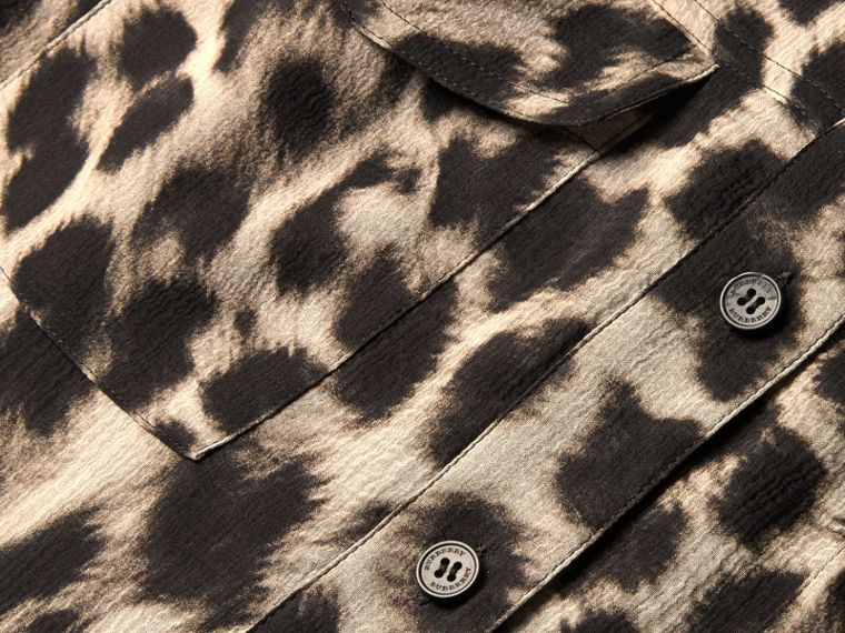 Ruffle Detail Animal Print Silk Dress - cell image 1