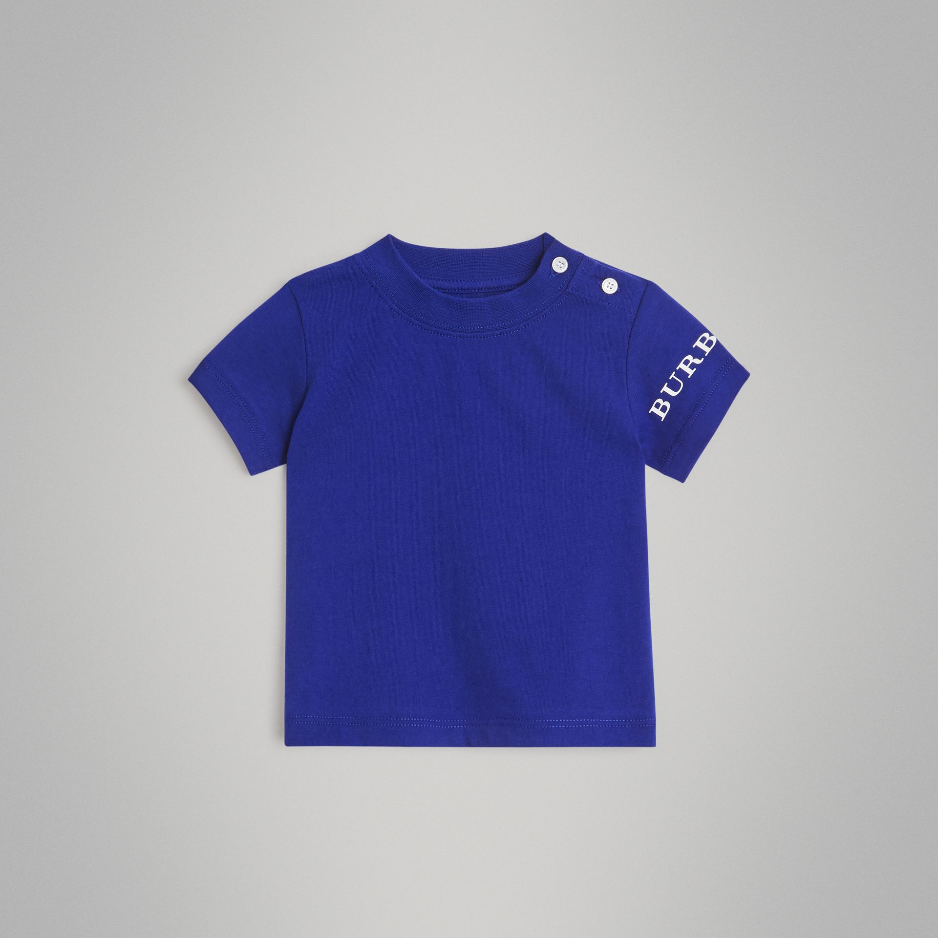 Logo Print Cotton T-shirt in Cobalt Blue - Children | Burberry - gallery image 0