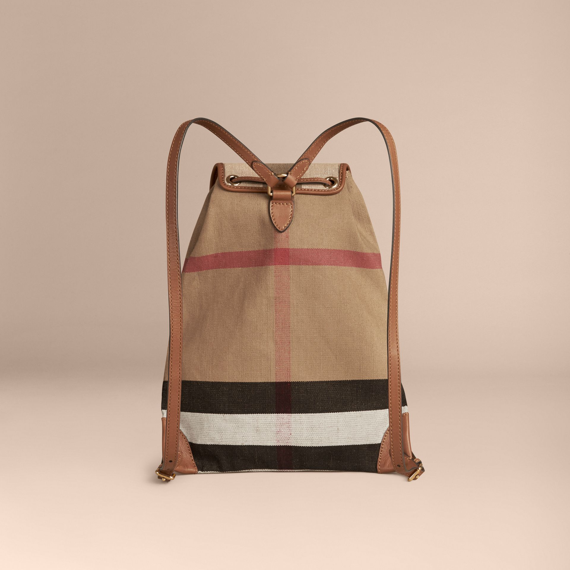 Tan Canvas Check Backpack with Leather Trim Tan - gallery image 2
