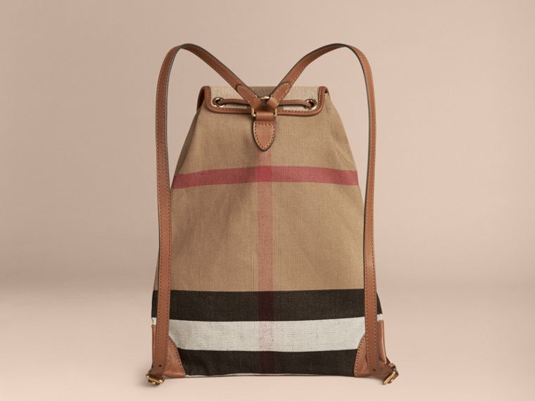 Tan Canvas Check Backpack with Leather Trim Tan - cell image 1