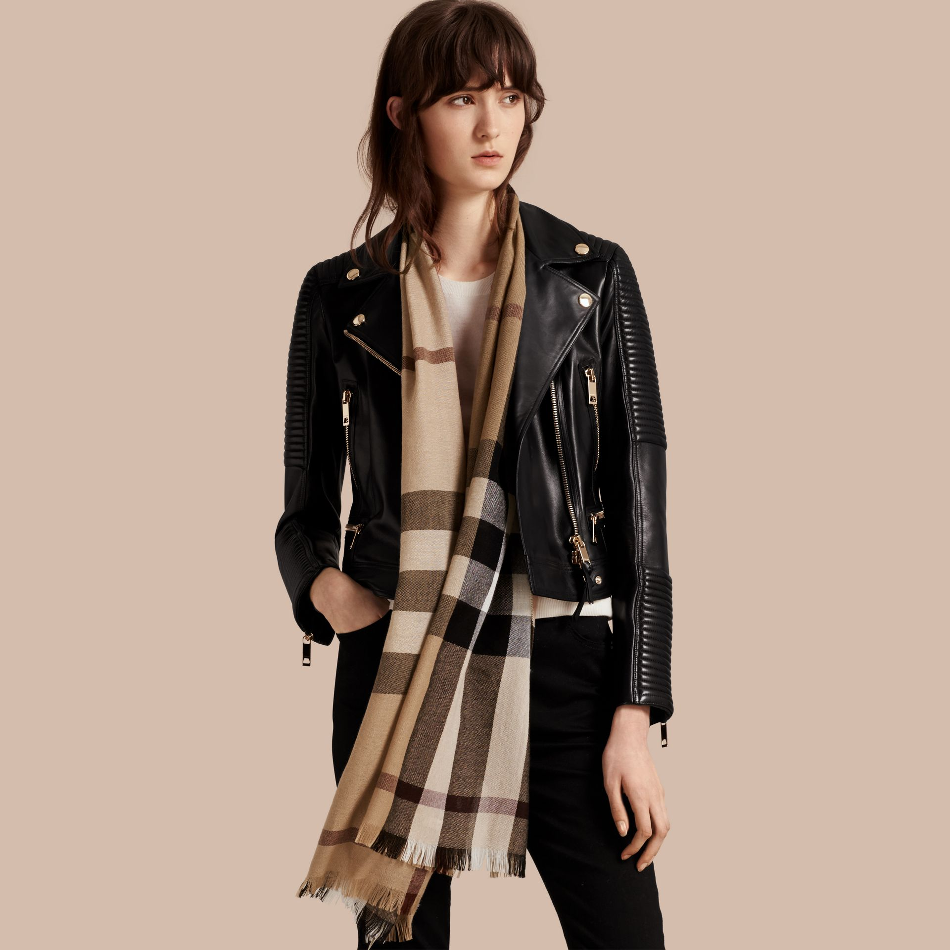 Lightweight Check Wool Cashmere Scarf in Camel | Burberry Australia - gallery image 3