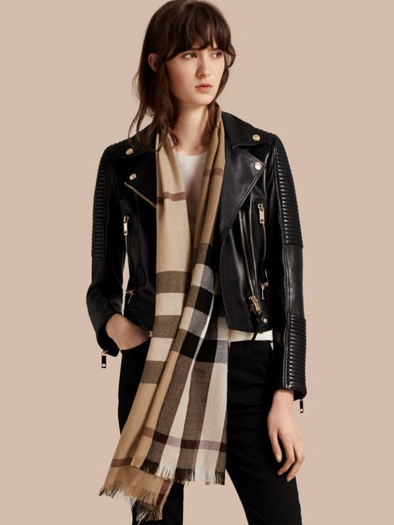 Lightweight Check Wool Cashmere Scarf in Camel | Burberry Australia - cell image 2