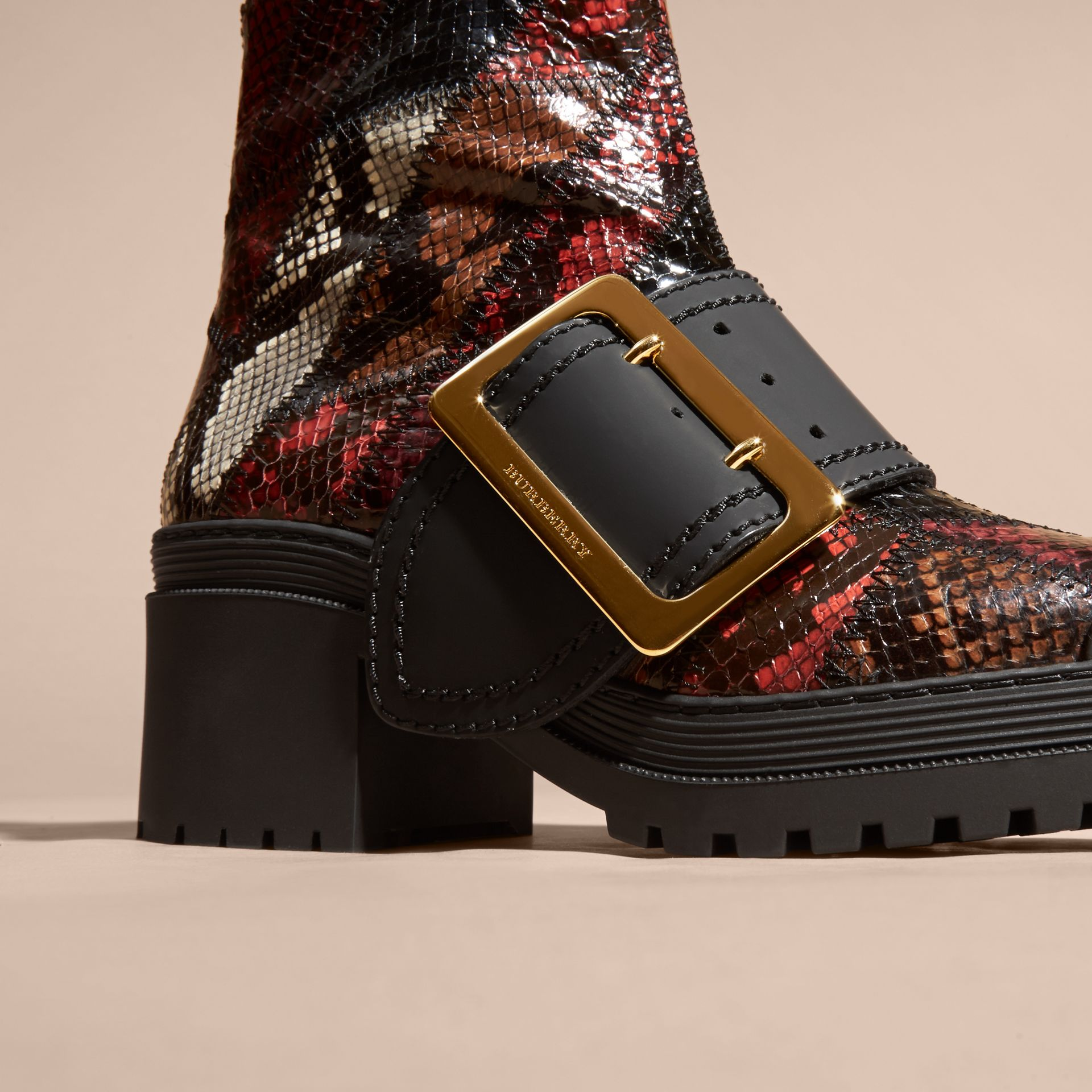 Tan/burgundy red The Buckle Boot in Snakeskin and Rubberised Leather - gallery image 2