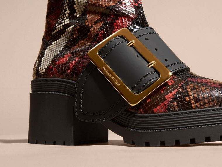 Tan/burgundy red The Buckle Boot in Snakeskin and Rubberised Leather - cell image 1