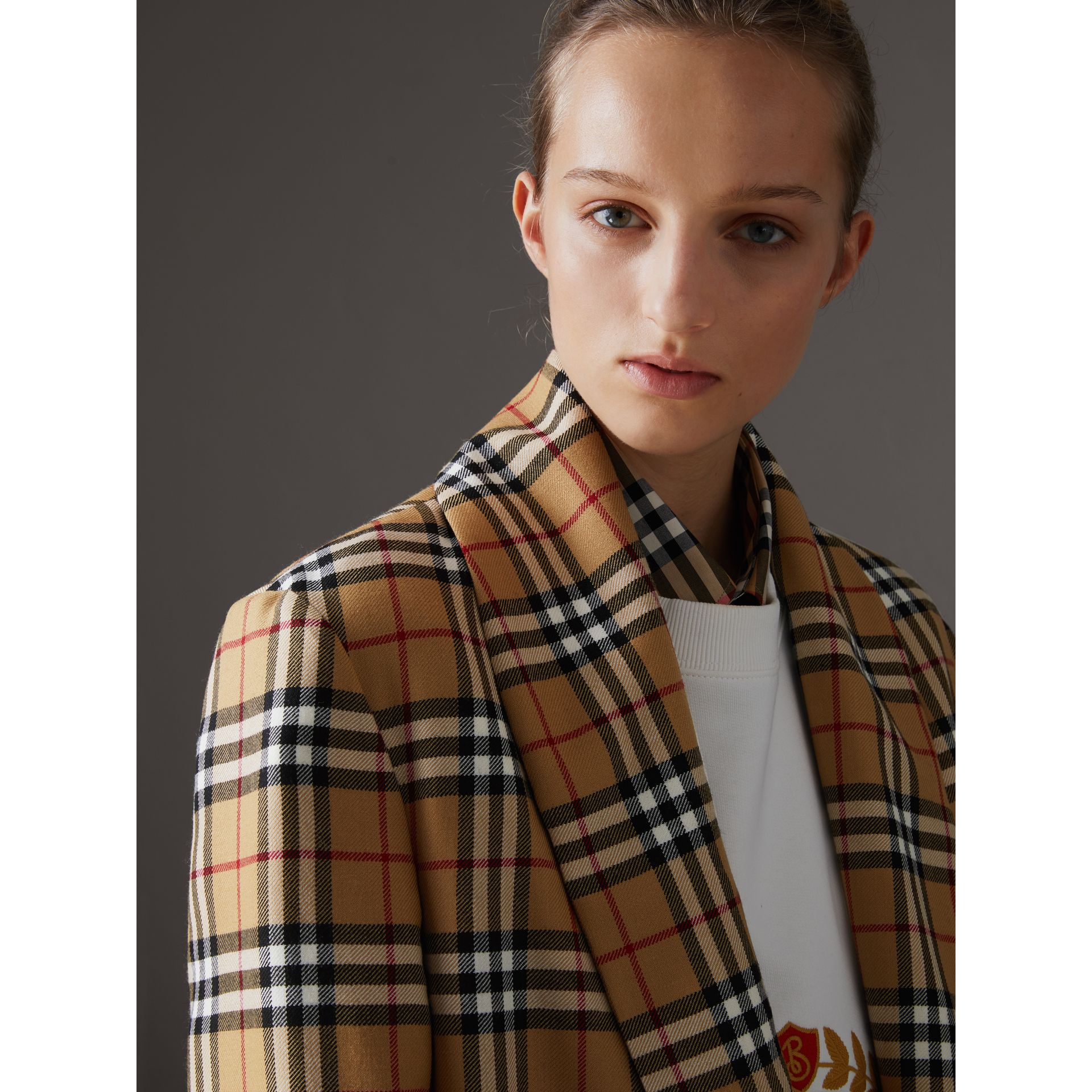 Reissued Vintage Check Dressing Gown Coat in Antique Yellow - Women | Burberry Australia - gallery image 5