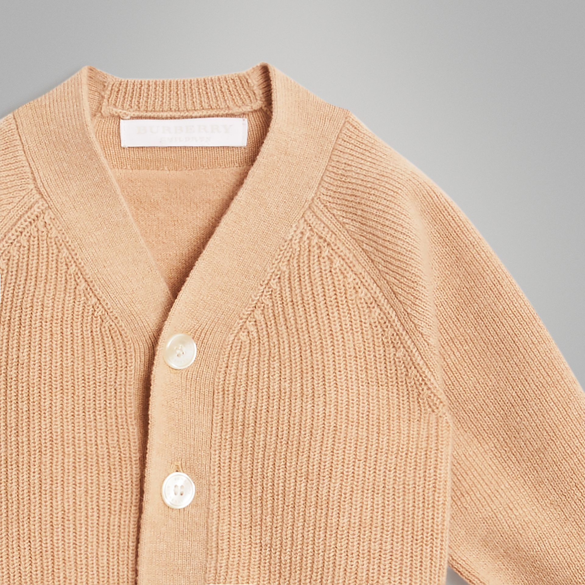 Cashmere Cotton Knit Cardigan in Peach - Children | Burberry United Kingdom - gallery image 4