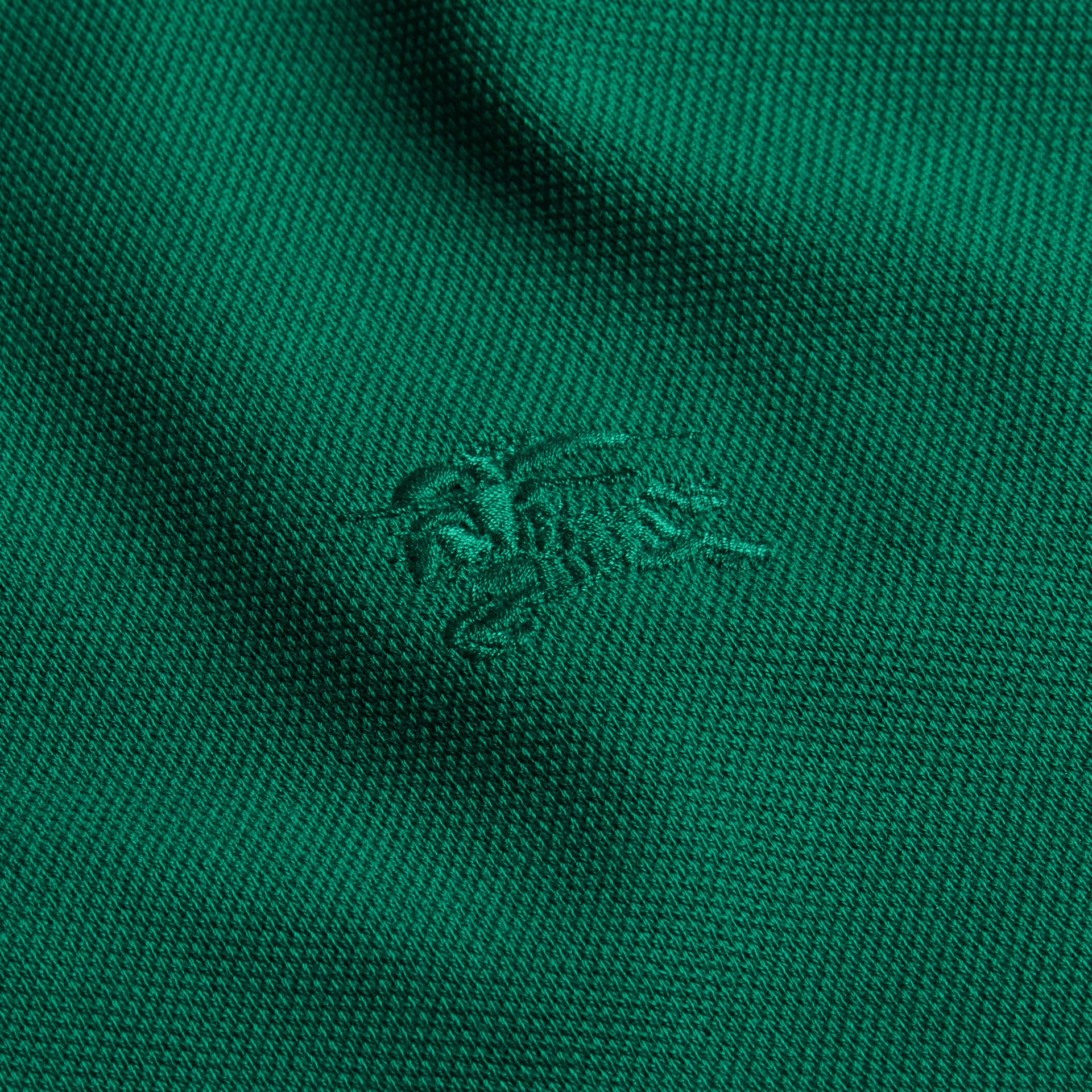 Geometric Motif Cotton Piqué Polo Shirt with Check Placket Bright Bottle Green - gallery image 2