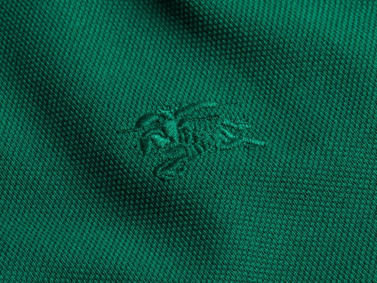 Geometric Motif Cotton Piqué Polo Shirt with Check Placket Bright Bottle Green - cell image 1