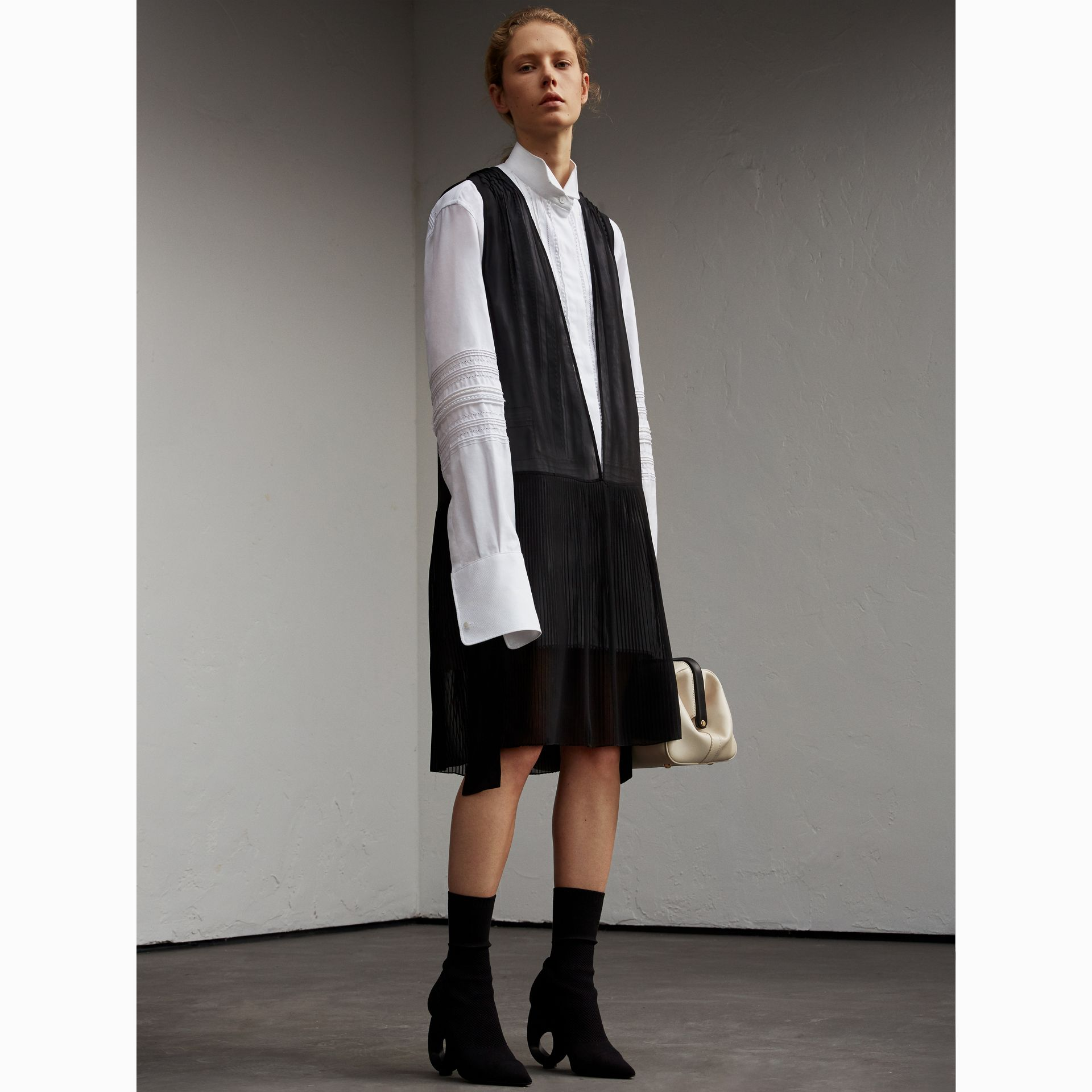 Silk and Cotton Dropped-waist Shirt Dress - Women | Burberry Australia - gallery image 6