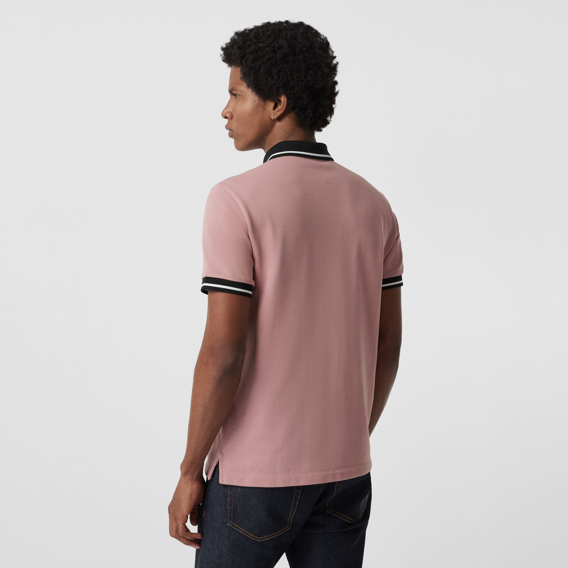 Tipped Cotton Piqué Polo Shirt in Pale Orchid - Men | Burberry - gallery image 2