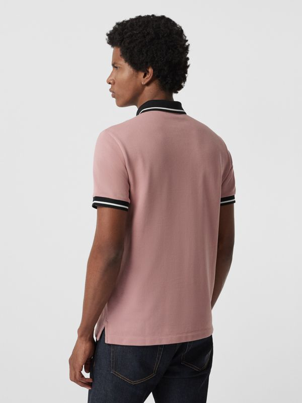 Tipped Cotton Piqué Polo Shirt in Pale Orchid - Men | Burberry - cell image 2