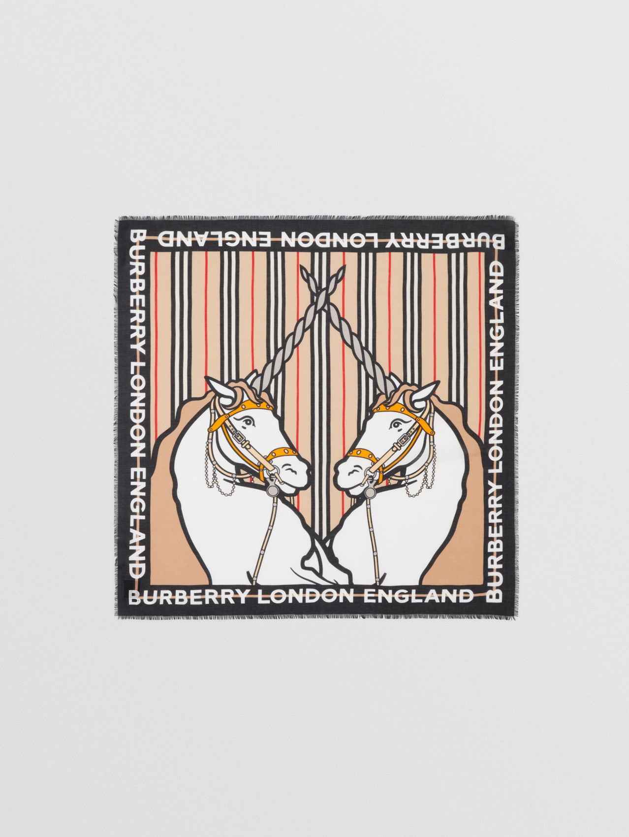 Unicorn Print Cotton Silk Square Scarf in Archive Beige