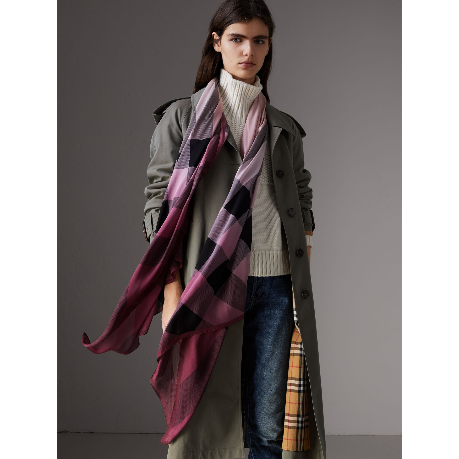 Ombré Washed Check Silk Scarf in Ash Rose - Women | Burberry - gallery image 2