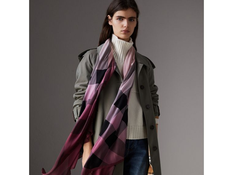 Ombré Washed Check Silk Scarf in Ash Rose - Women | Burberry - cell image 2
