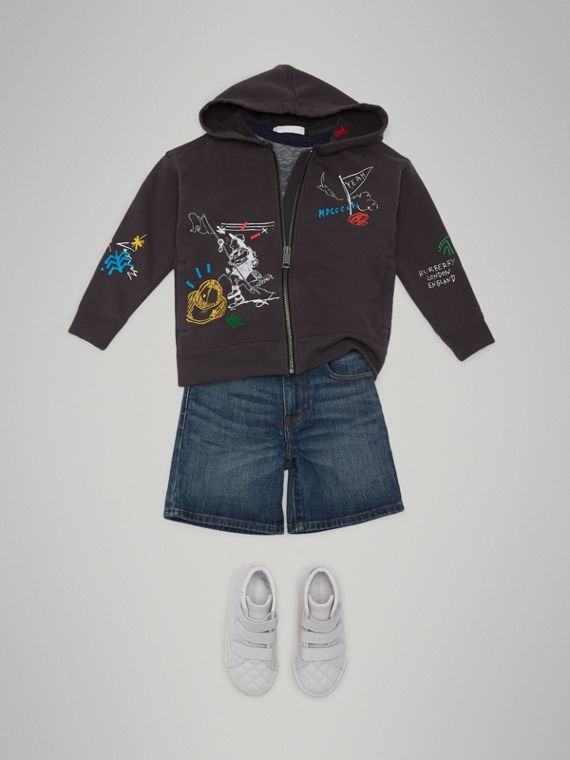 Adventure Print Zip-up Hoodie in Charcoal - Boy | Burberry - cell image 2