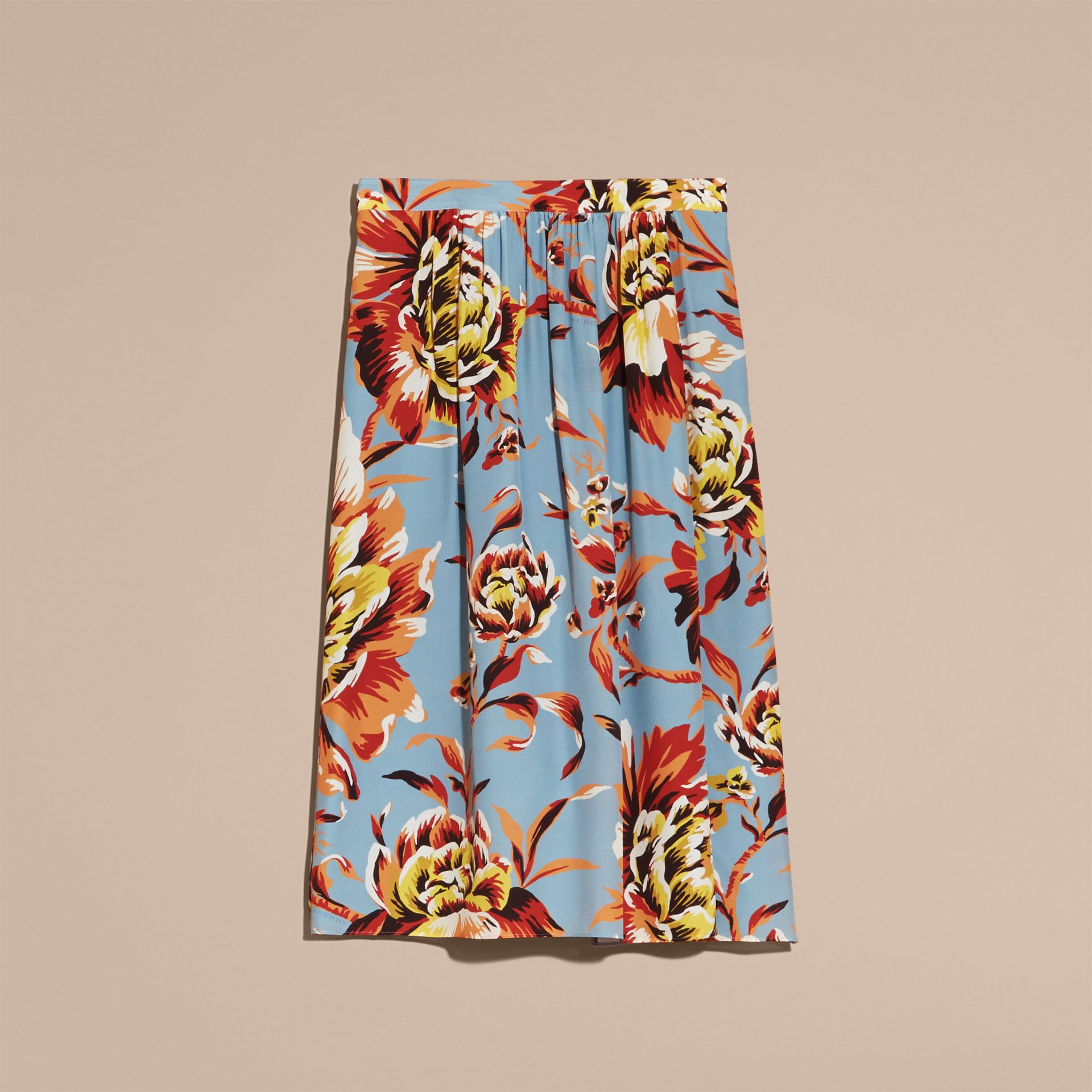 Vibrant orange Peony Rose Print Silk Skirt - gallery image 4