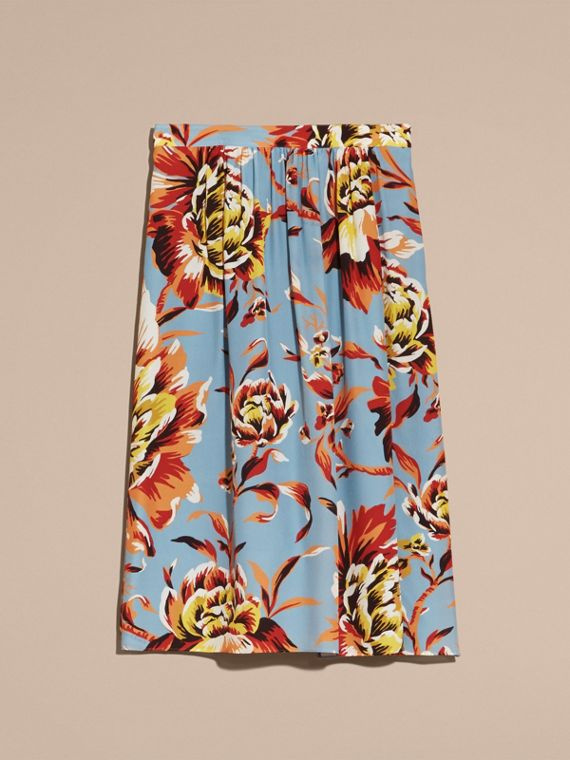 Vibrant orange Peony Rose Print Silk Skirt - cell image 3