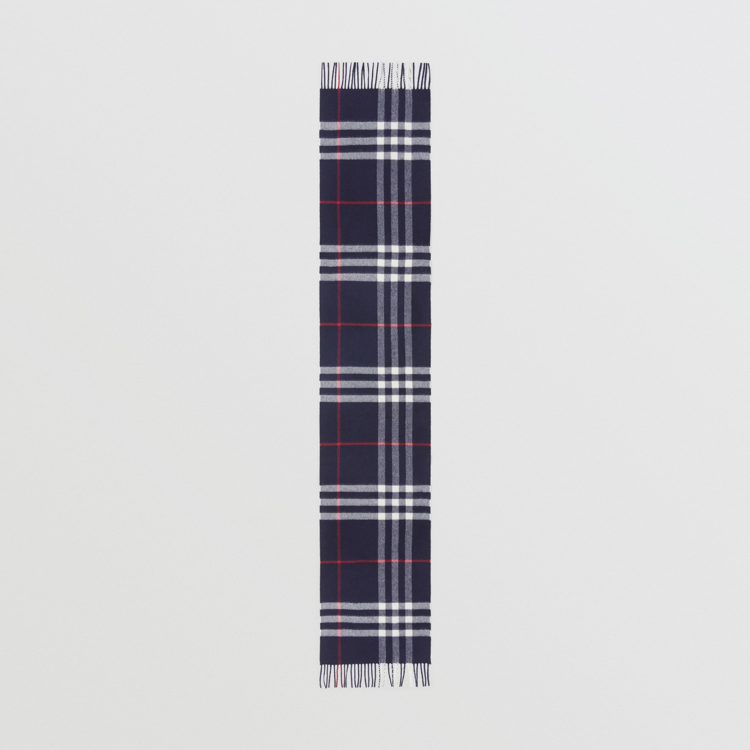 The Classic Check Cashmere Scarf in Navy | Burberry - 3
