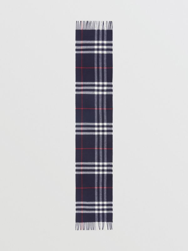 The Classic Check Cashmere Scarf in Navy | Burberry Singapore - cell image 3