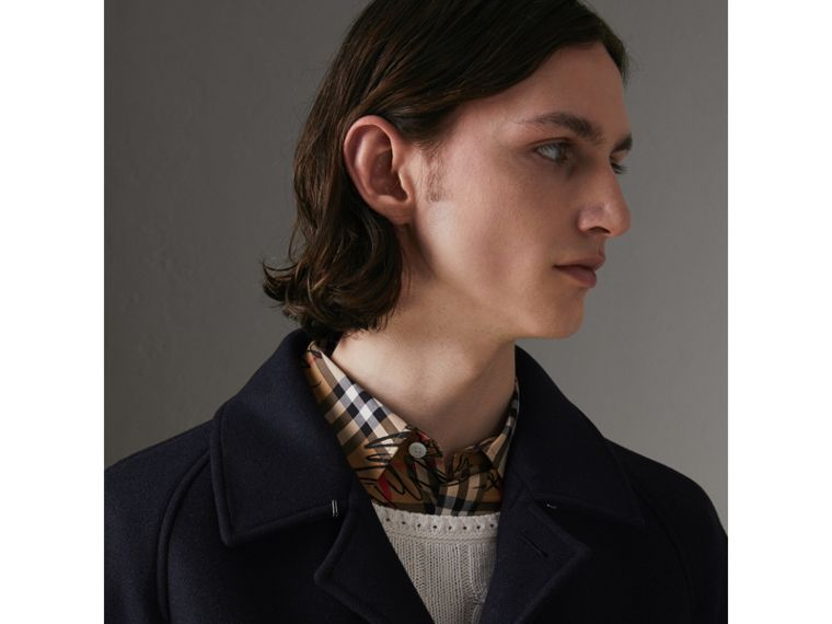 Cashmere Car Coat in Navy - Men | Burberry - cell image 4