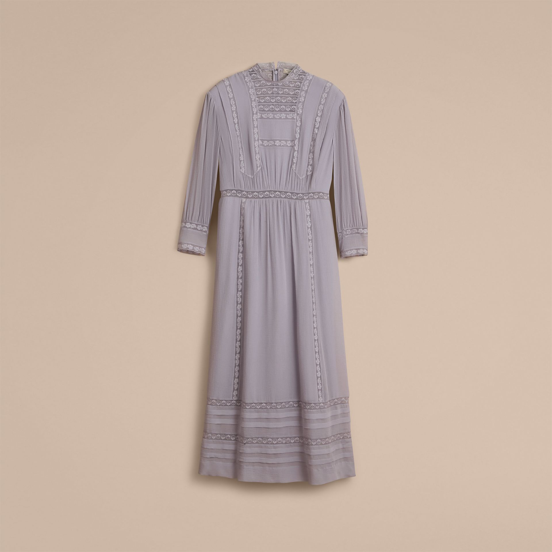 Lace Detail Silk Crepon Dress in Pale Lilac - Women | Burberry Hong Kong - gallery image 4