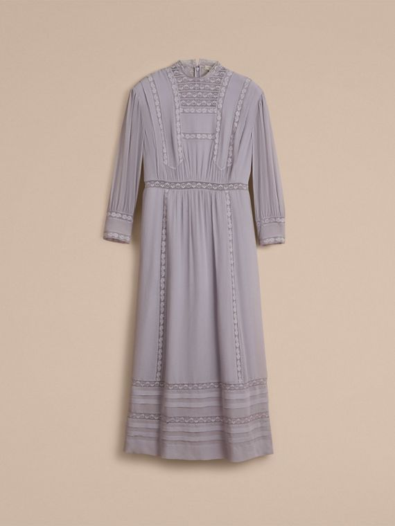 Lace Detail Silk Crepon Dress in Pale Lilac - Women | Burberry Hong Kong - cell image 3