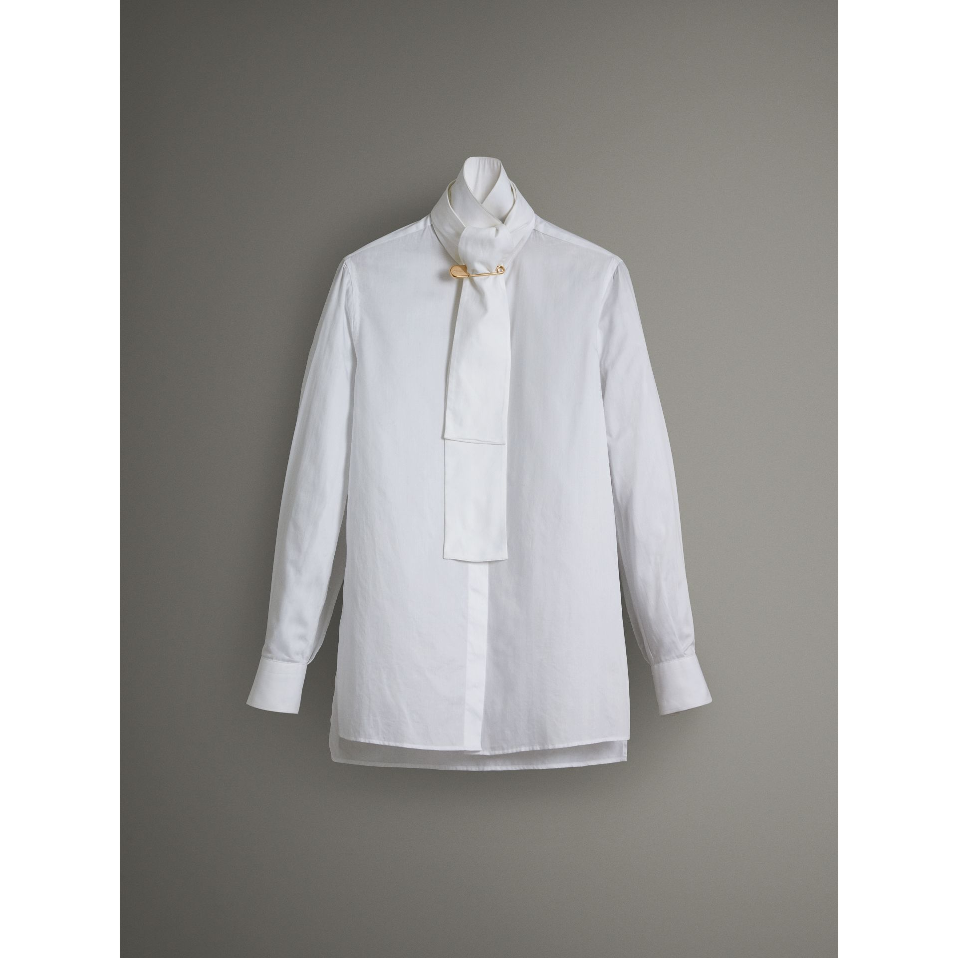 Herringbone Cotton Tie-neck Riding Shirt in White - Women | Burberry - gallery image 3