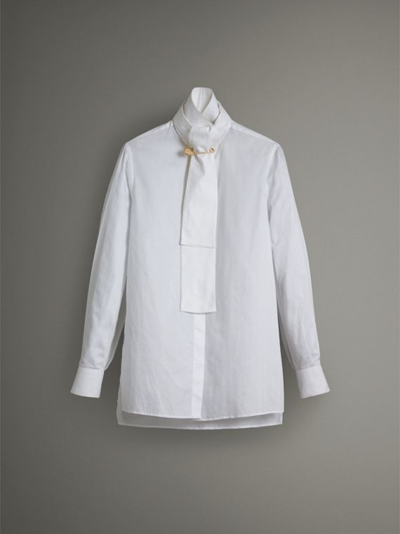 Herringbone Cotton Tie-neck Riding Shirt in White - Women | Burberry Hong Kong - cell image 3