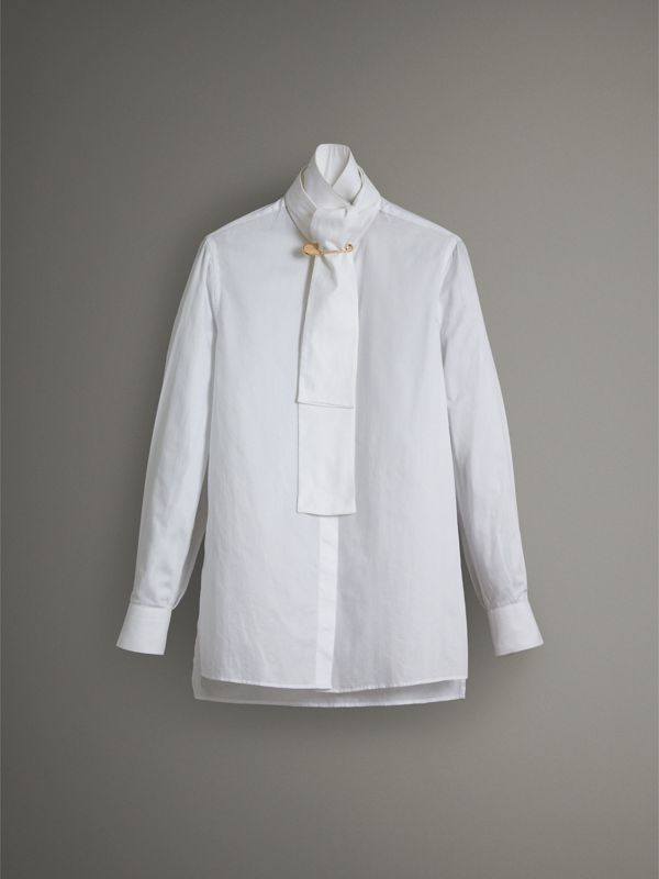 Herringbone Cotton Tie-neck Riding Shirt in White - Women | Burberry - cell image 3