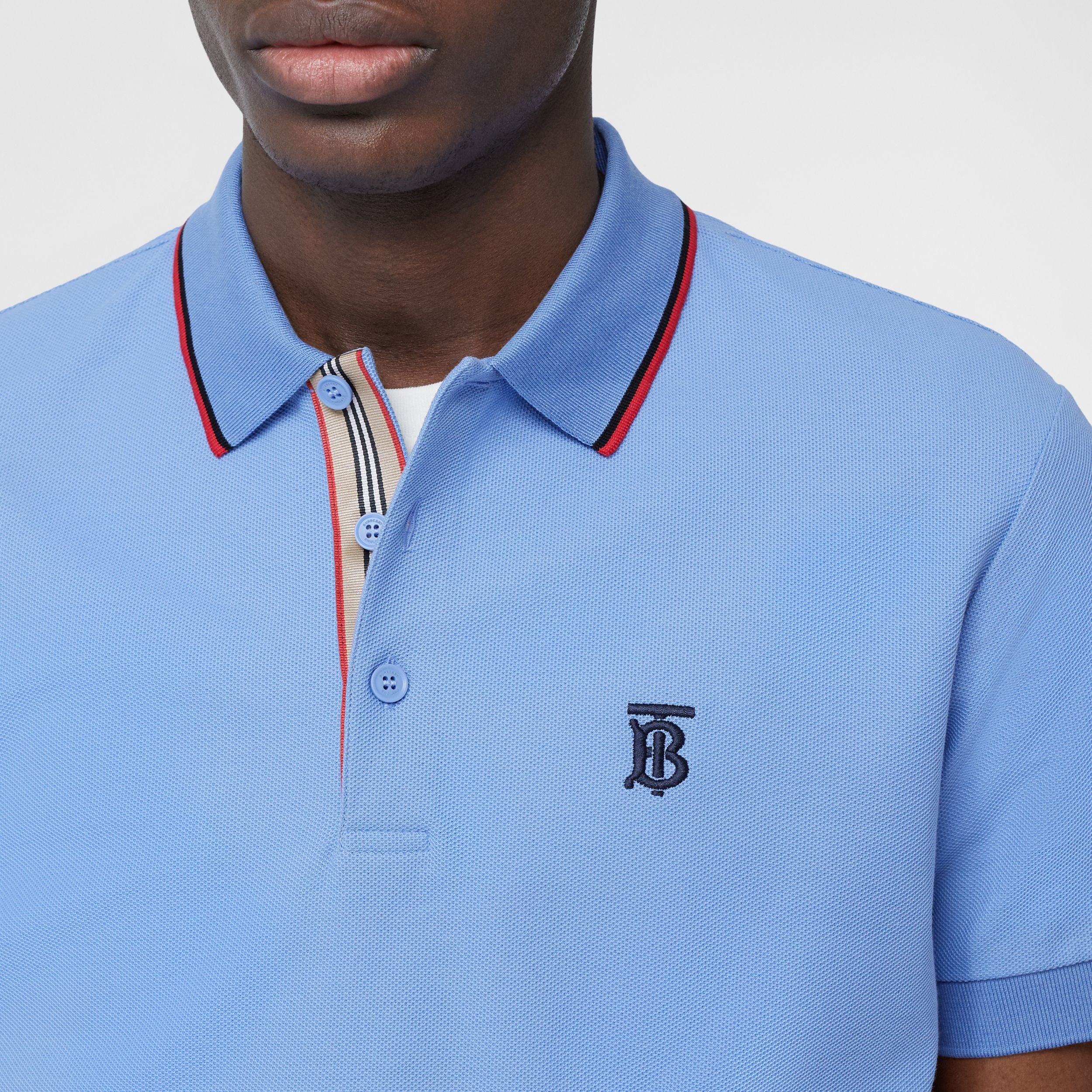 Monogram Motif Cotton Piqué Polo Shirt in Opal Blue - Men | Burberry Australia - 2