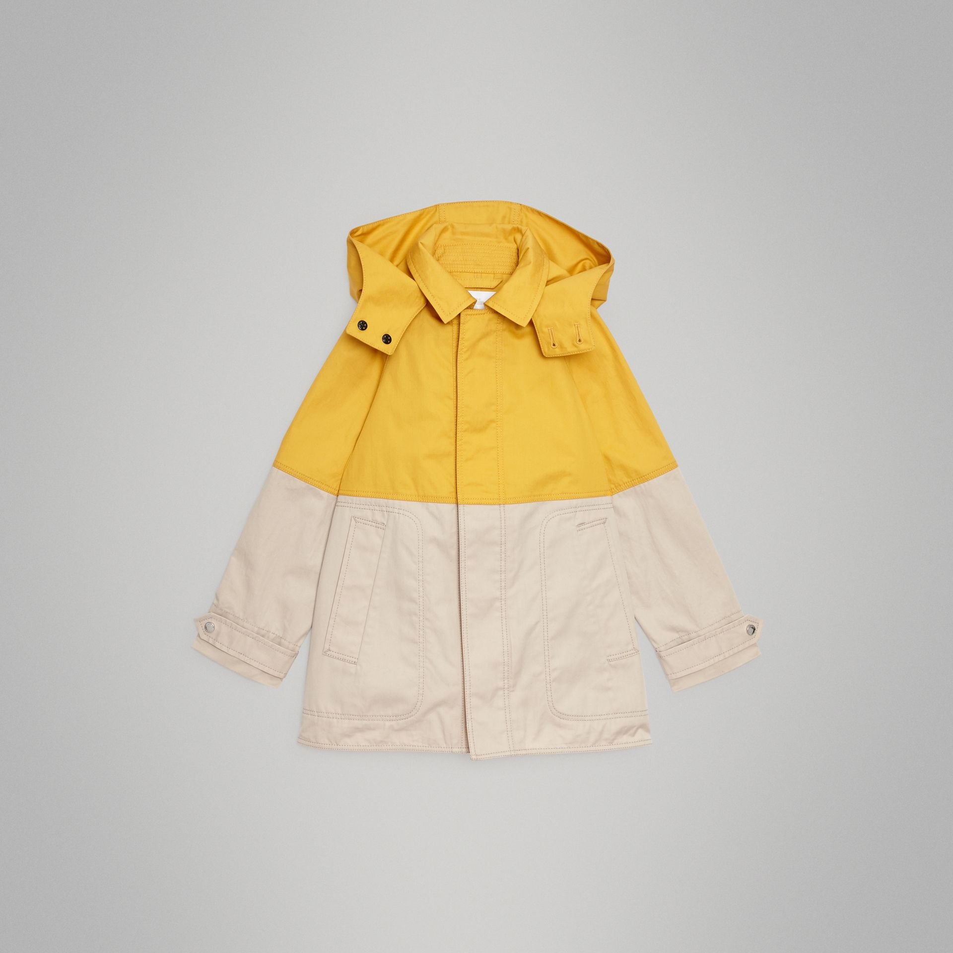 Detachable Hood Colour Block Cotton Car Coat in Gorse Yellow | Burberry United Kingdom - gallery image 0