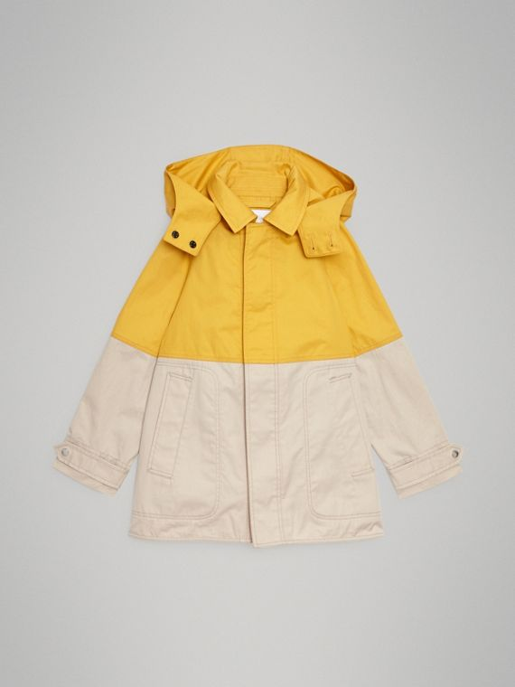 Detachable Hood Colour Block Cotton Car Coat in Gorse Yellow