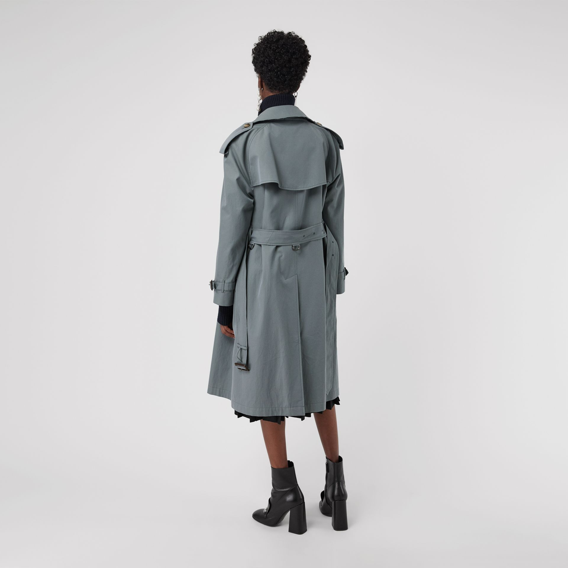 Wool-lined Tropical Gabardine Trench Coat in Dusty Blue - Women | Burberry Canada - gallery image 2