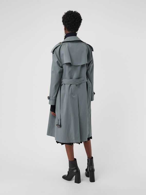 Wool-lined Tropical Gabardine Trench Coat in Dusty Blue - Women | Burberry United Kingdom - cell image 2