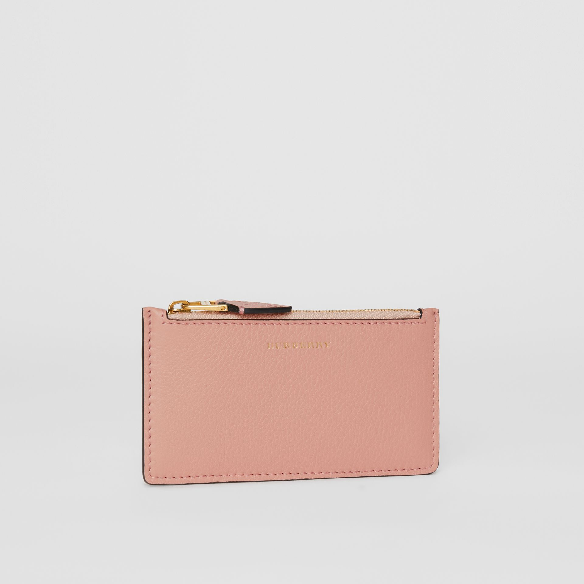 Porte-cartes zippé en cuir bicolore (Rose Platiné) - Femme | Burberry - photo de la galerie 3