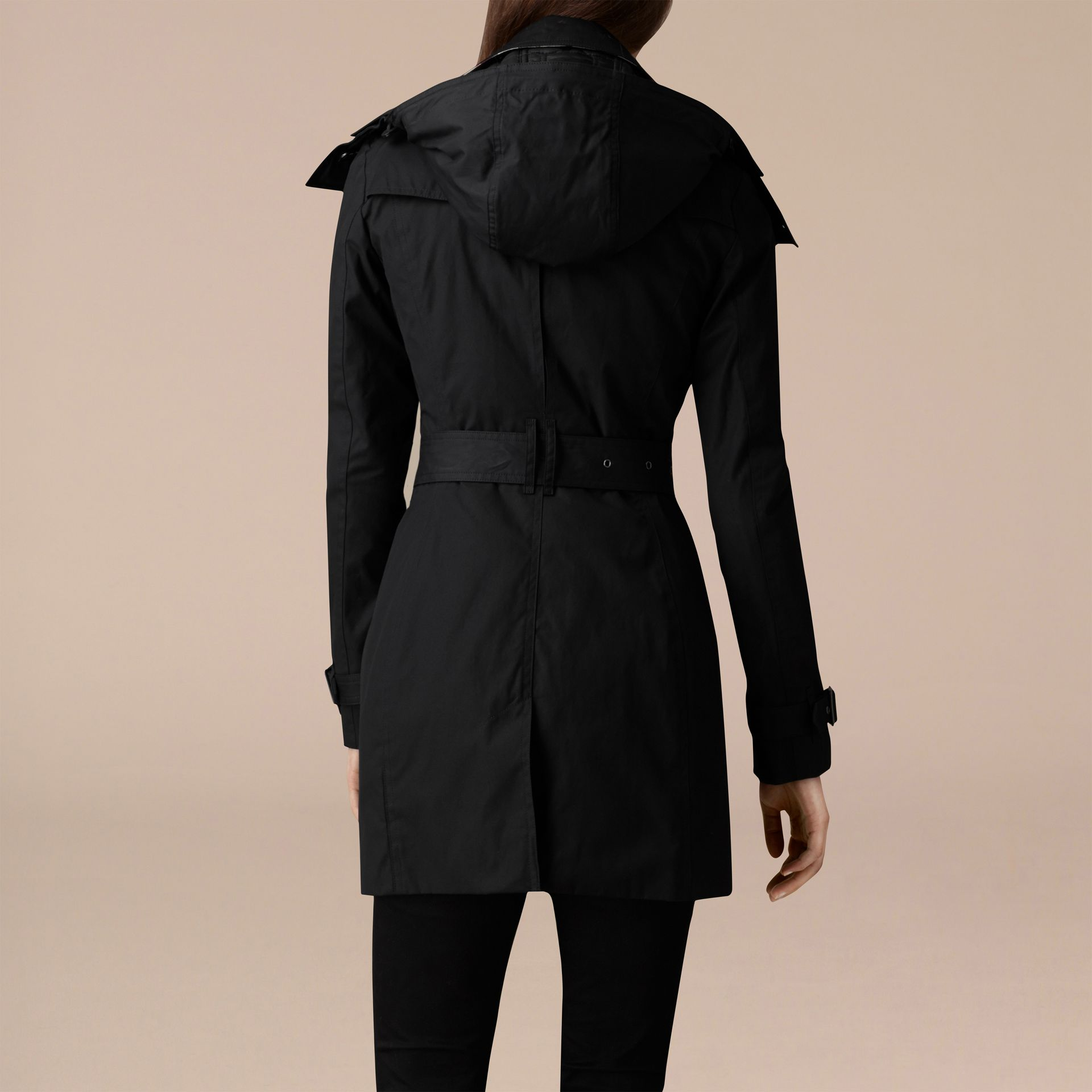 Black Hooded Cotton Trench Coat with Warmer Black - gallery image 3