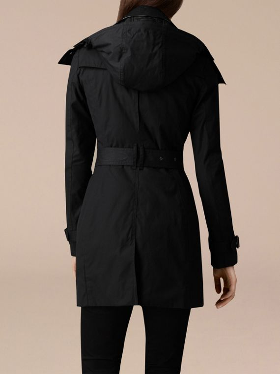 Black Hooded Trench Coat with Warmer Black - cell image 2