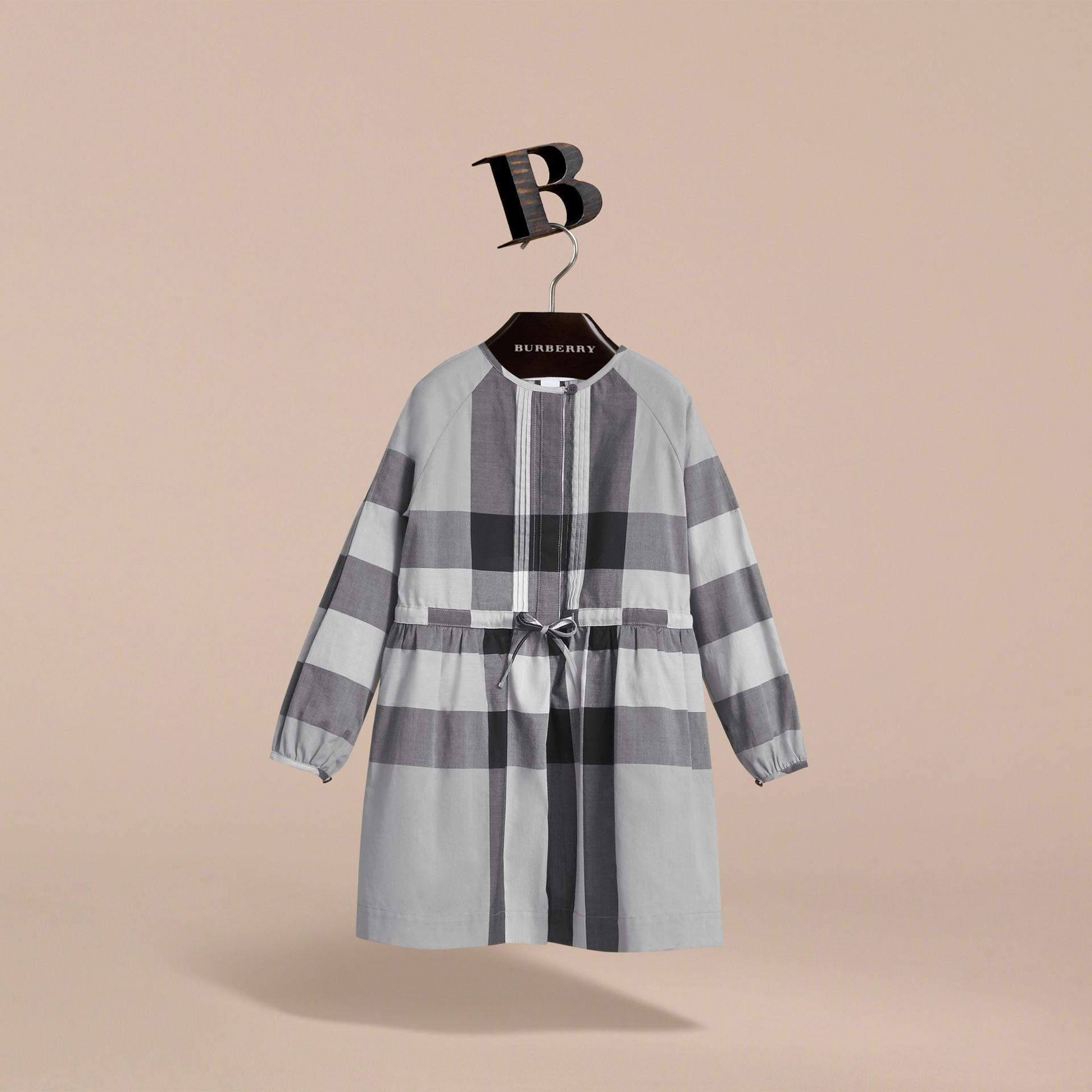 Collarless Check Drawcord Cotton Voile Dress in Pale Stone Blue - Girl | Burberry - gallery image 3