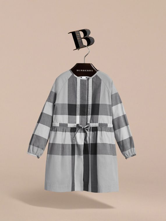 Collarless Check Drawcord Cotton Voile Dress in Pale Stone Blue - Girl | Burberry - cell image 2